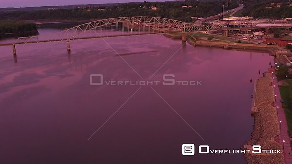 Cars and Trucks on a Bridge over the Mississippi River, Dubuque, Iowa, USA