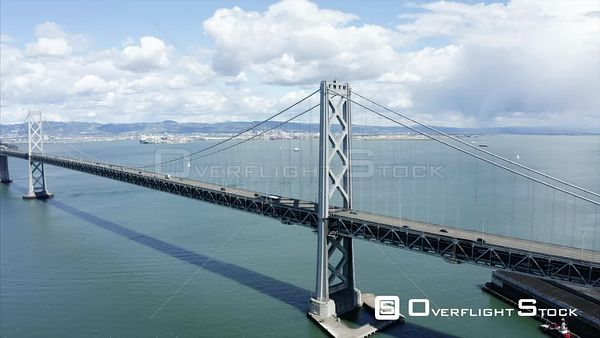 Bay Bridge Drone Aerial View Covid19 Lockdown  San Francisco California
