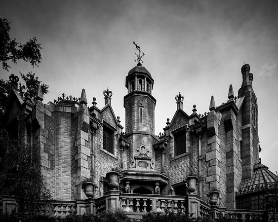 Haunted Mansion Entrance View | Black and White Print