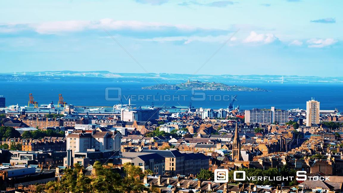 Timelapse View of East Edinburgh, Leith and the Firth of Forth in Scotland