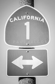 California Pacific Coast Highway PCH Sign Black and White Photo
