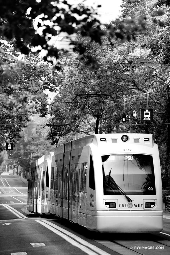 PORTLAND STREETCAR TRAM DOWNTOWN PORTLAND OREGON BLACK AND WHITE VERTICAL