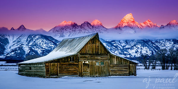 Teton Sunrise - 20x40 Metal Panorama