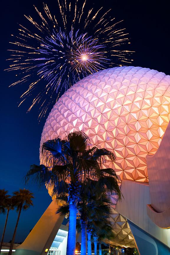 Spaceship Earth with Fireworks in Background | Color Print
