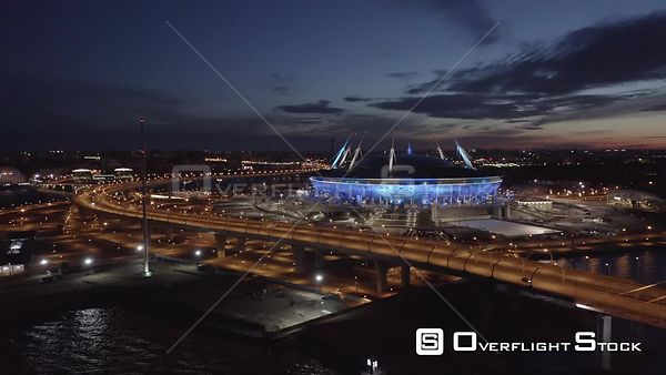Forward Sunrise Shot of Football Stadium Zenit Arena and Circle Road. Saint Petersburg Russia Drone Video View