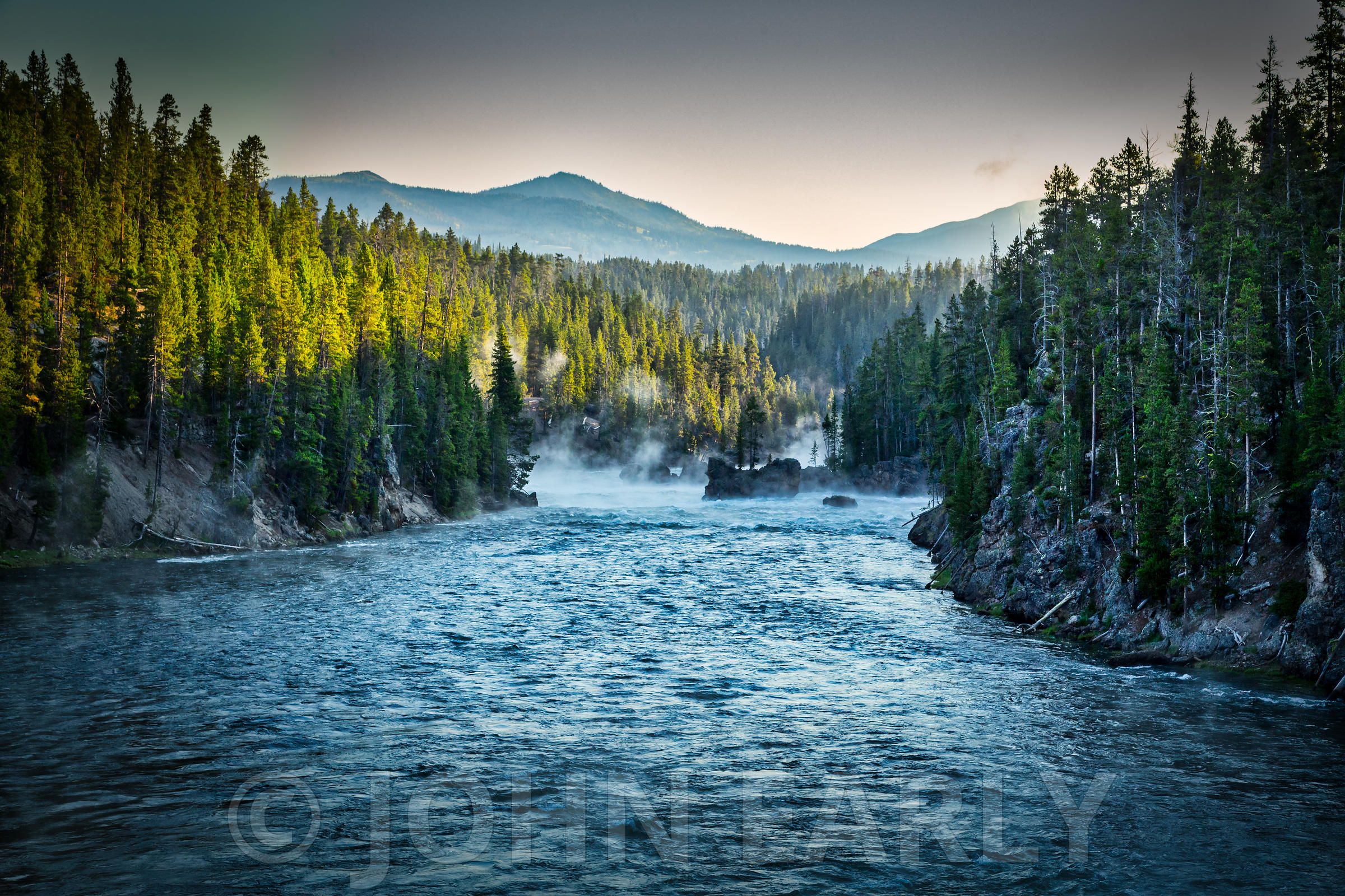 Yellowstone River near Upper Falls, Yellowstone National Park,
