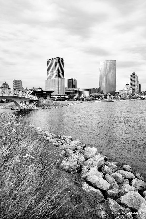 MILWAUKEE WISCONSIN FROM LAKESHORE STATE PARK BLACK AND WHITE VERTICAL