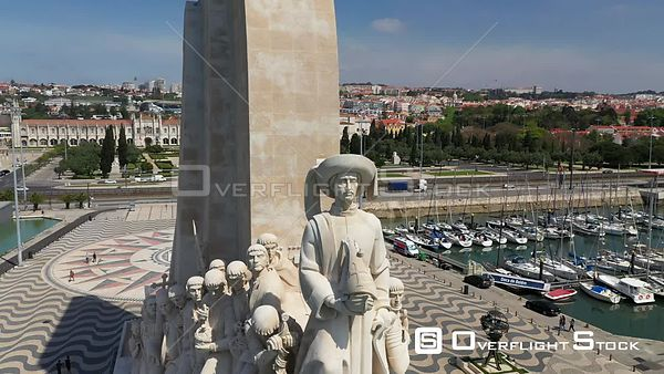 Aerial close tracking of Monument to the Discoveries, in Belém, Lisbon, empty streets During Covid-19 Pandemic Portugal