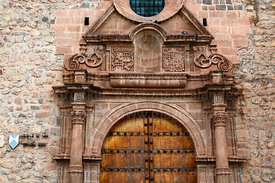 Detail of main entrance of San Antonio Abad church, Cusco, Peru