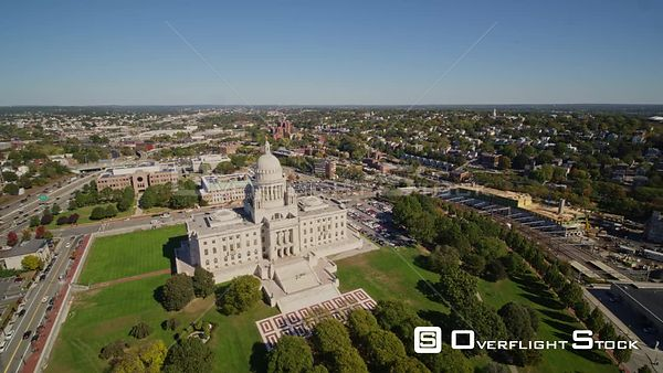 Providence Rhode Island Panoramic birdseye detail of Capitol building with cars and traffic