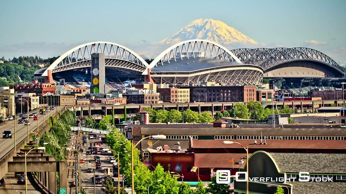 Seattle Washington State USA Seattle city traffic time lapse with Mt Rainer in background.