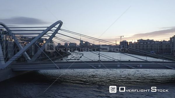 Sideway Shot of New Bridge in New District of a City at Sunrise. Saint Petersburg Russia Drone Video View