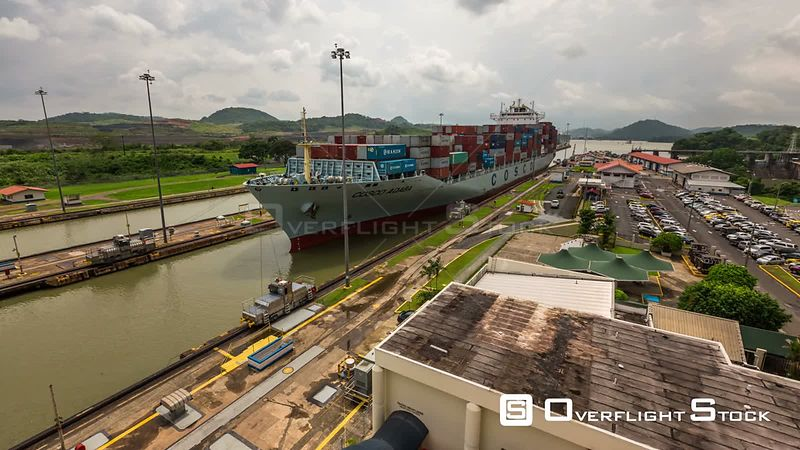 Panama Panning time lapse of the Panama Canal with ship coming through,