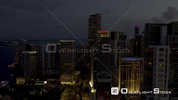 Flying Between Towers Downtown City Miami Aerial Video