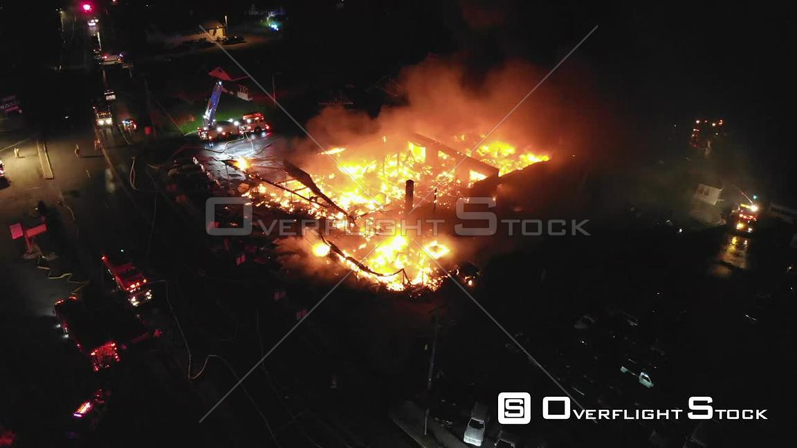 Large Commercial Mall Fire Ellenville New York Drone View