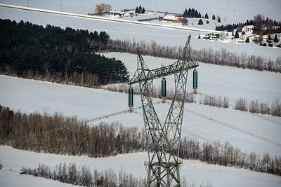 Electrical Tower in Winter Quebec Canada