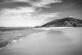 Makena Big Beach Maui Hawaii Black and White Photo