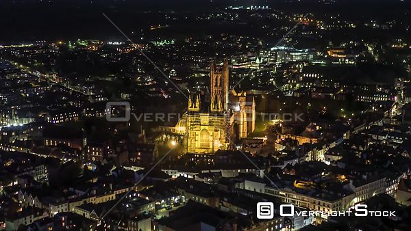 Drone Video of Canterbury Cathedral Nighttime England