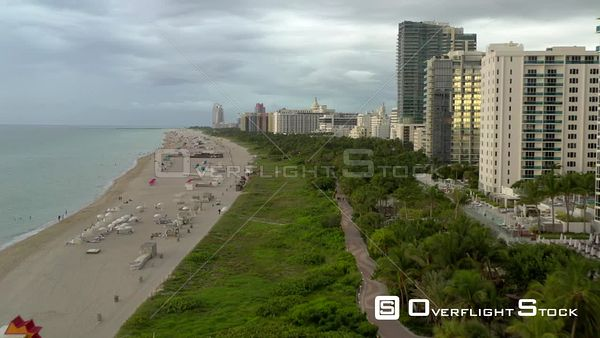 Low aerial flight coastal Miami Beach FL