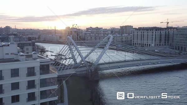 Flyover a New Bridge in New District of the City. Saint Petersburg Russia Drone Video View