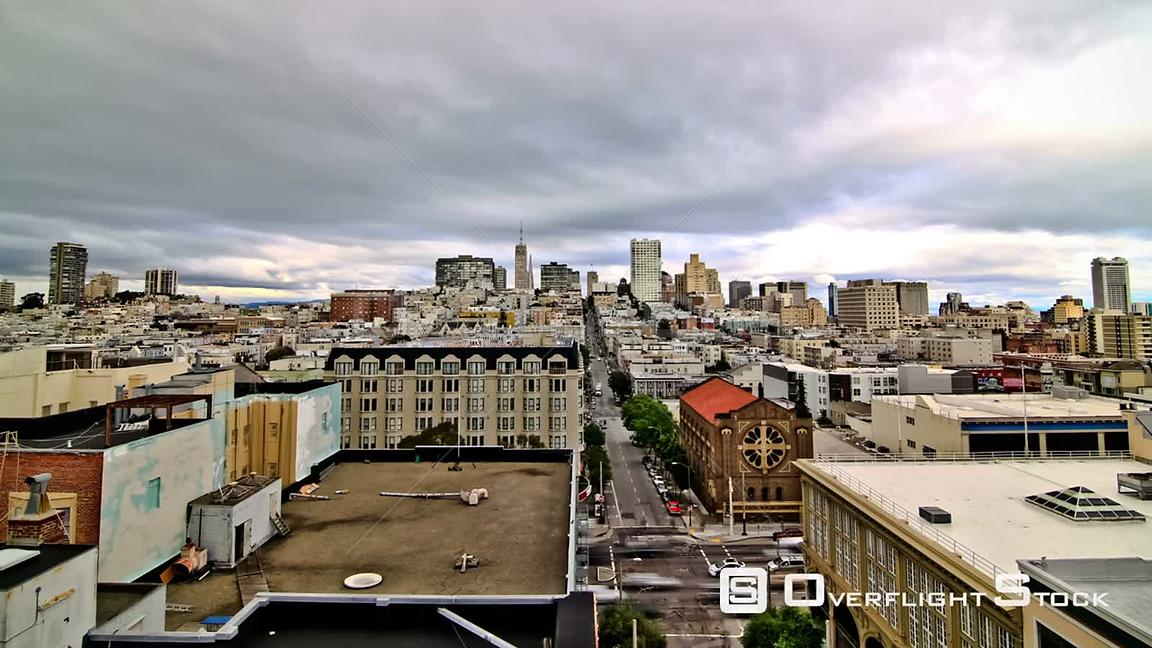 San Francisco California USA Zooming San Francisco cityscape time lapse using a detailed photo effect