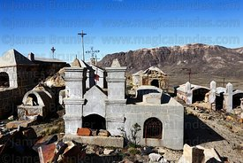 Tomb in shape of church in Milluni cemetery, Bolivia