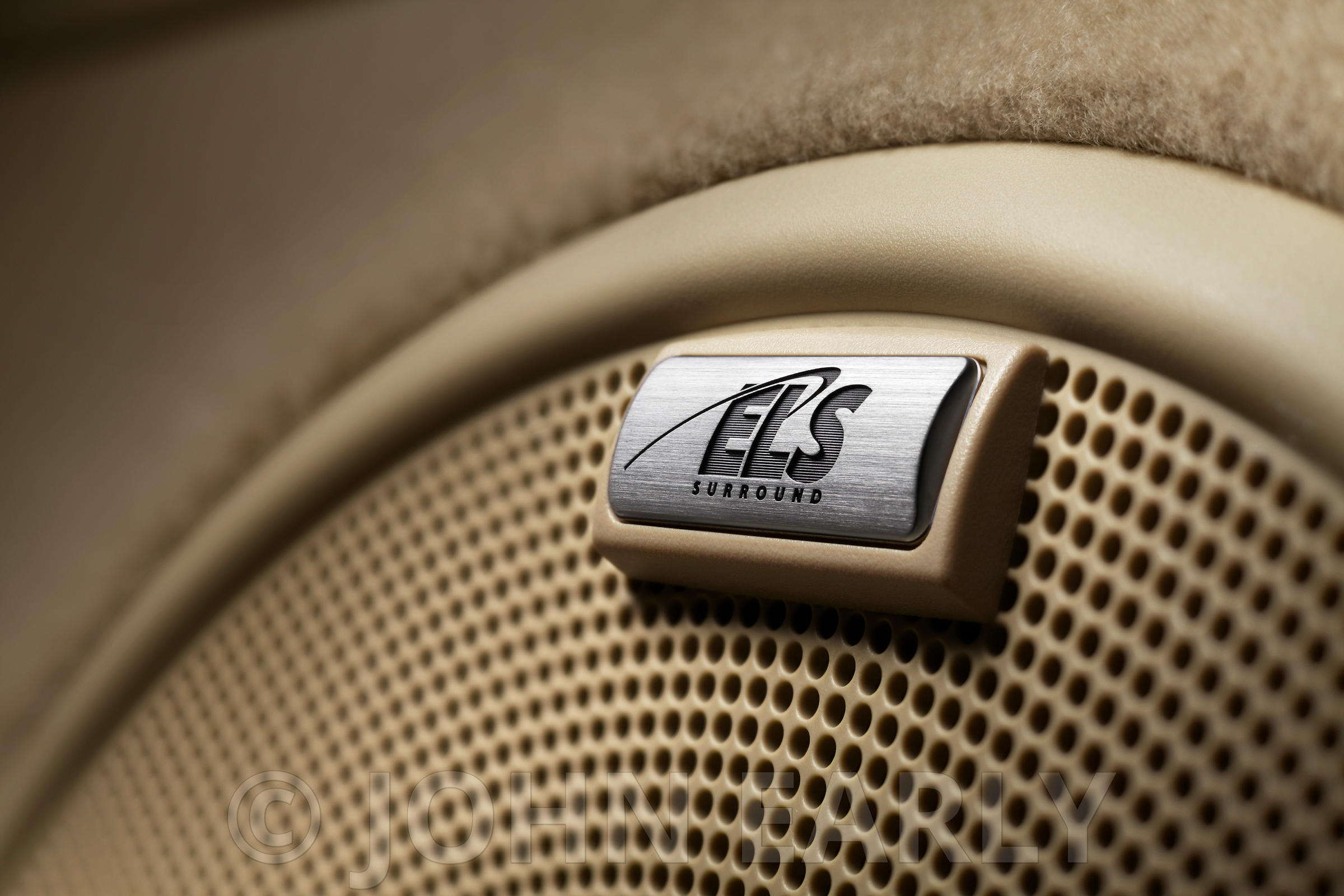 Close-Up Shot of Premium Sound Speaker Detail in a Car