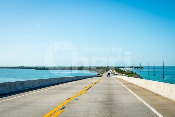 A long way down the road of The Keys, Florida