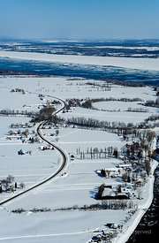Winter Landscape alone the St Lawrence Quebec Canada