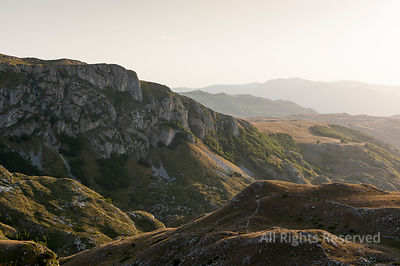 Sunset Over One of the Nice Green Valleys in the Lower Part of Durmitor National Park