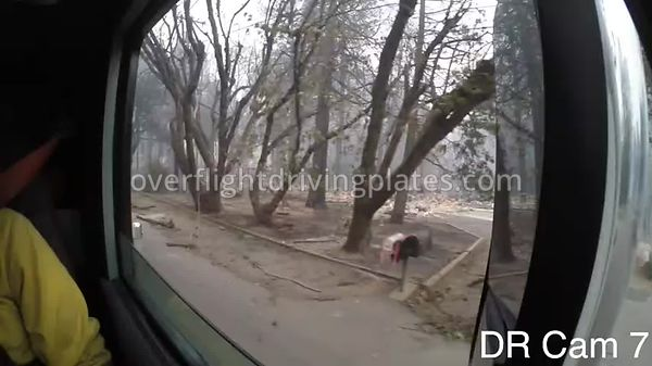 Camp Fire Post Fire Smoke  Paradise California USA - Drivers Rear 3/4 View Driving Plate Cam7 Feb 15, 2019