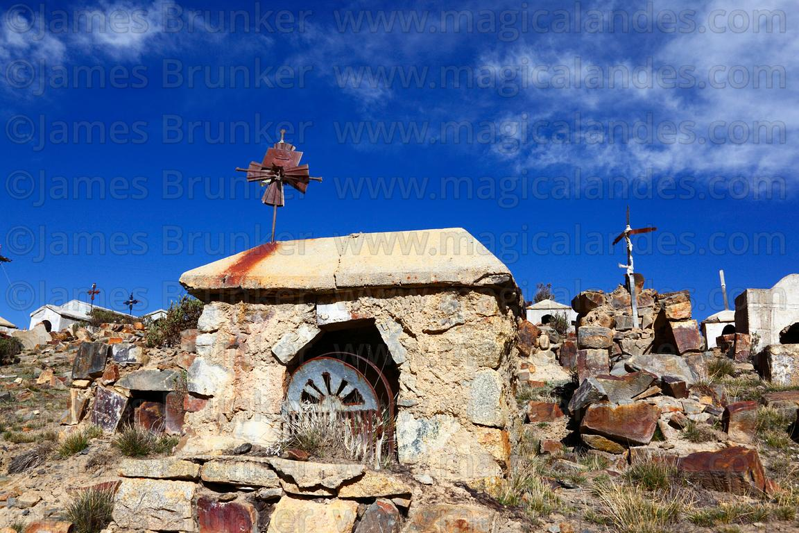 Tombs on hillside in Milluni cemetery, Bolivia