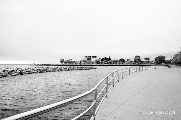MILWAUKEE LAKEFRONT PROMENADE HARBOR HOUSE AND DISCOVERY WORLD MILWAUKEE WISCONSIN BLACK AND WHITE