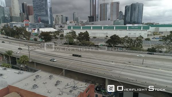 The 110 freeway with unusually light traffic and downtown Los Angeles during COVID-19 Pandemic