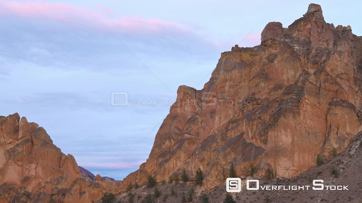 Oregon USA Time lapse of Smith Rocks after sunset.
