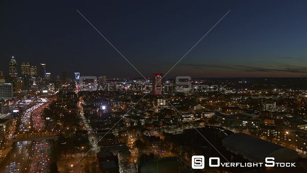 Atlanta Panning toward downtown and midtown cityscape views at night