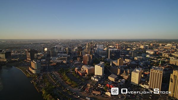 New Jersey Newark Aerial Cityscape Downtown Sunrise