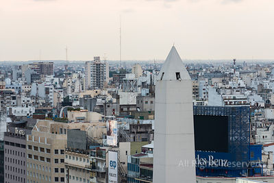 Aerial View of the Obelisco at 9 De Julio Avenue Argentina