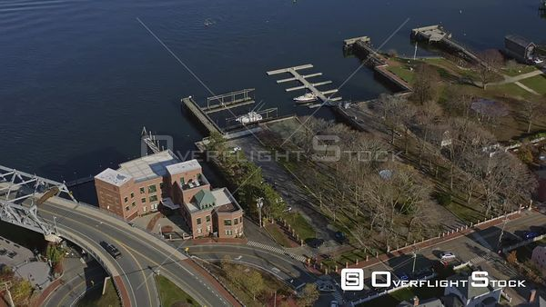 Portsmouth New Hampshire Birdseye view of downtown riverfront panning low to wide view of island cityscape