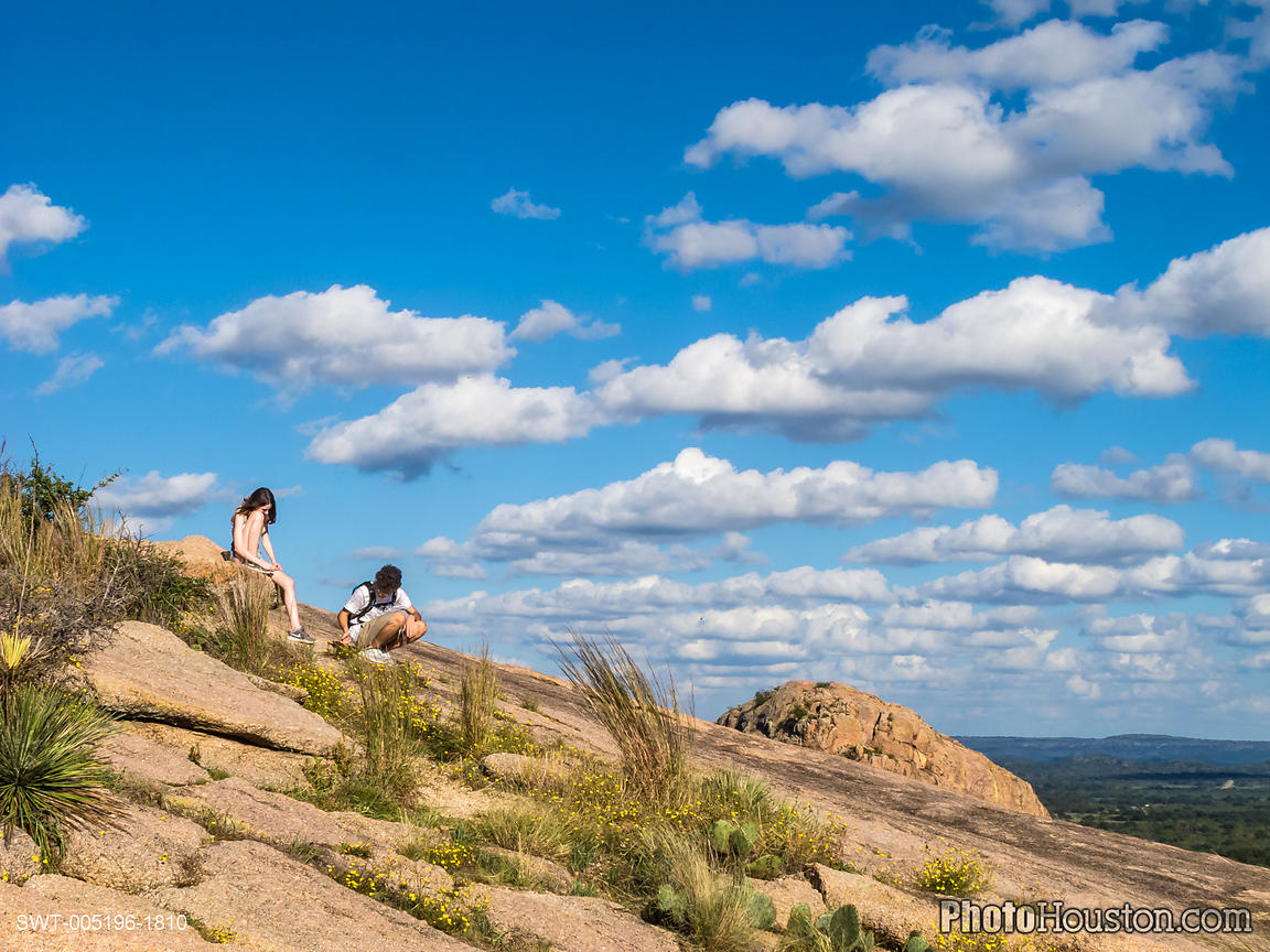 Hikers resting in the Enchanted Rock State Natural Area