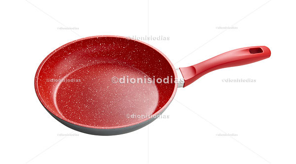 Isolated red kitchen frying pan with path on diagonal