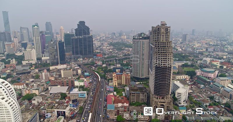 Thailand Bangkok Aerial Panning around Yan Nawa and Bang Rak districts with riverfront view