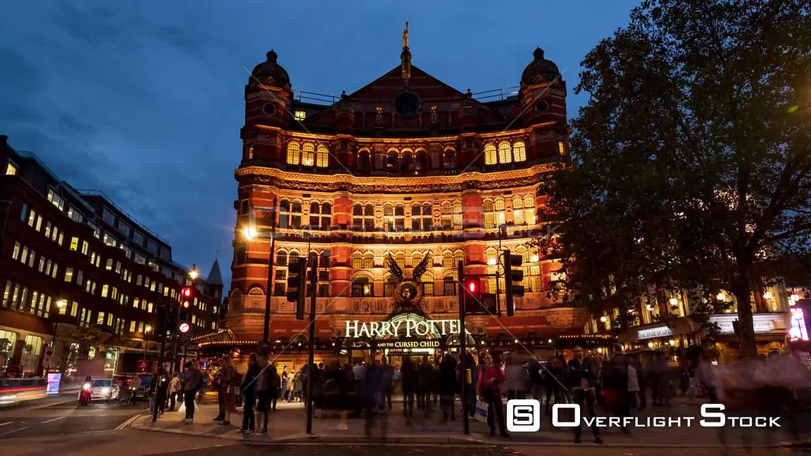 Timelapse view of a Victorian theater in London at night