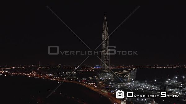 Night Sideway Shot of Lahta Center Skyscraper and Surroundings. Saint Petersburg Russia Drone Video View