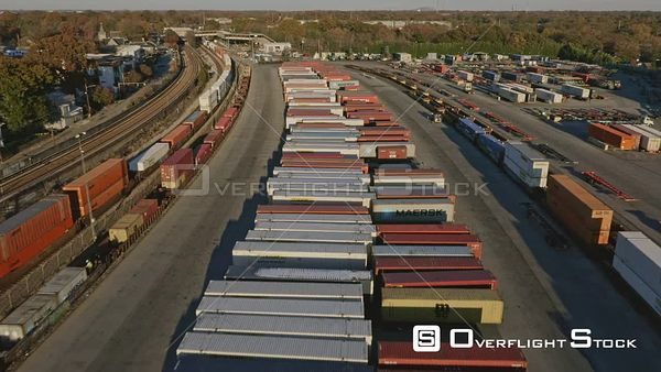 Atlanta Flying over industrial train car container yard detail