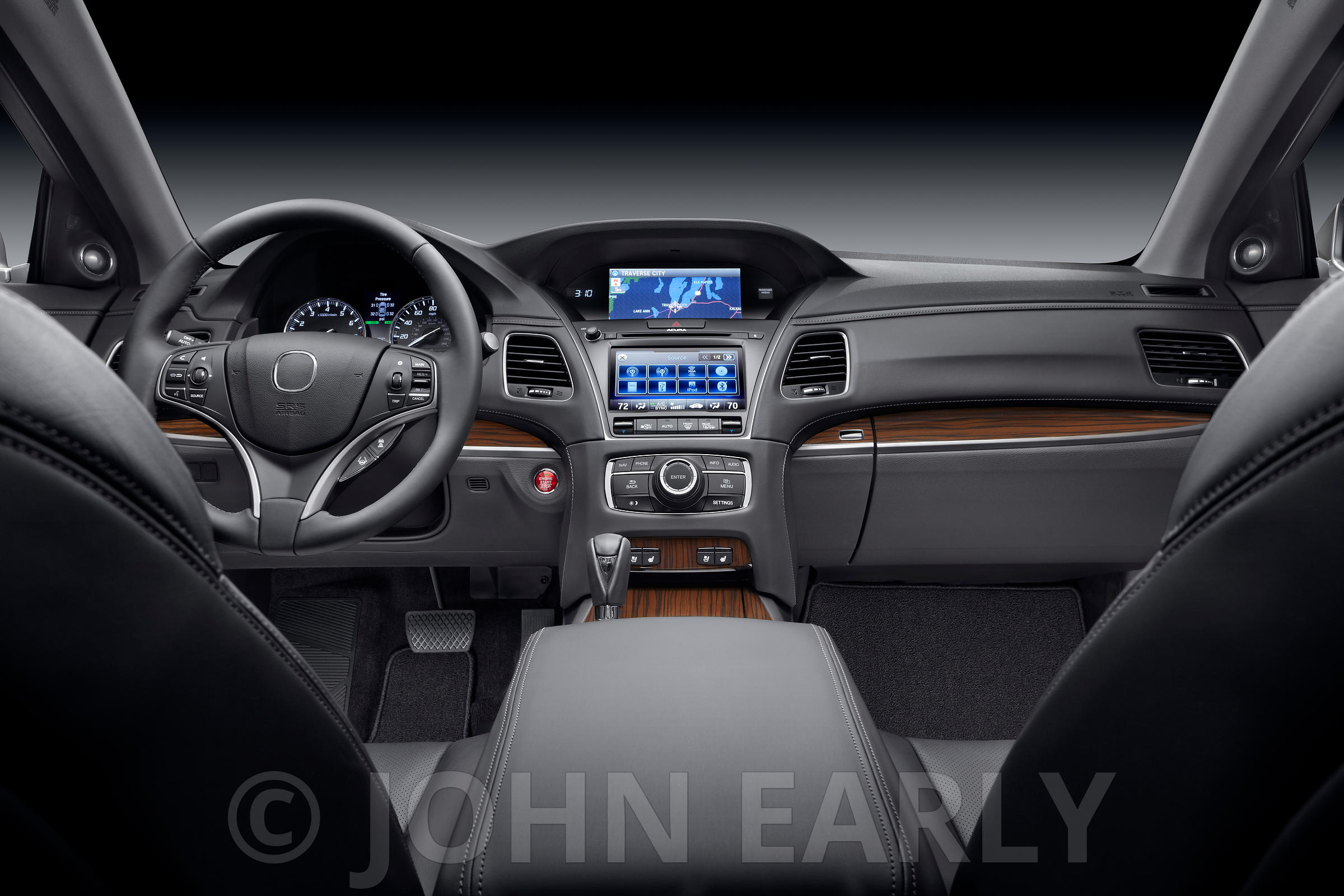 Behind The Front Seats View of Luxury Car Dash