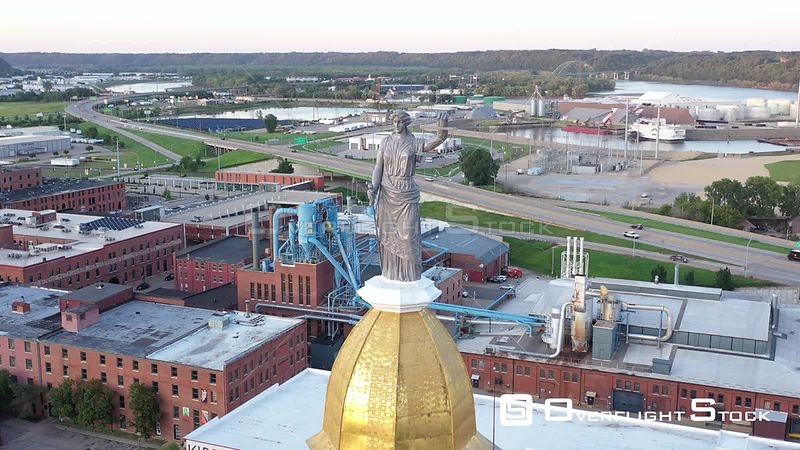 Lady Justice statue closeup on top of the courthouse, Dubuque, Iowa, USA