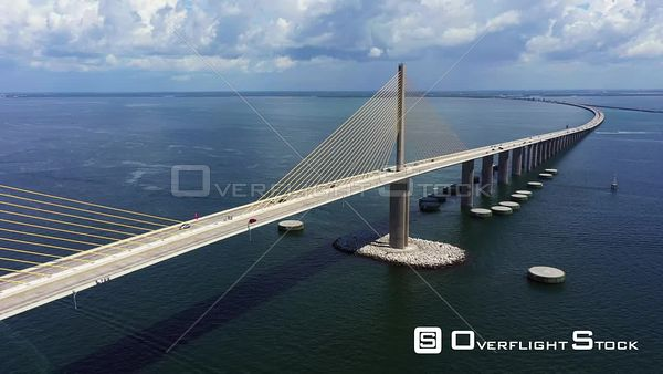 Aerial reveal of the Sunshine Skyway Bridge St Petersburg FL USA