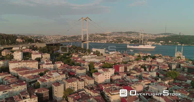 Bosphorus Bridge Over Istanbul Rooftops Turkey
