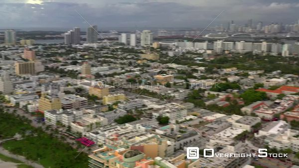 Aerial Miami Beach fast pan and flyover Collins Avenue 4k
